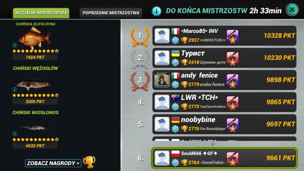Fishing clash - ekran mistrzostw