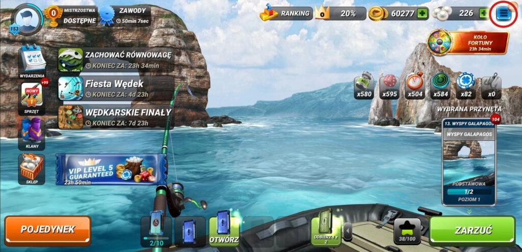 fishing clash - menu
