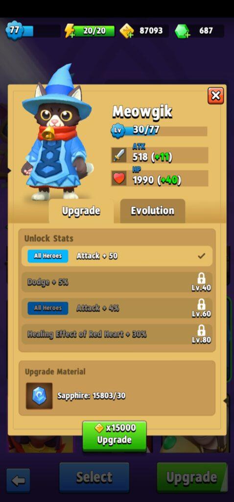 Meowgik upgrade skills